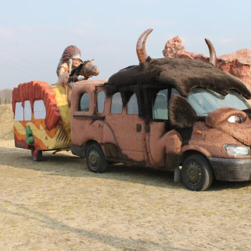 Auto- bizon i Indianin