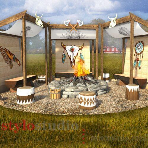 Projekty miejsc ogniskowych dla Western Camp w Zatorze